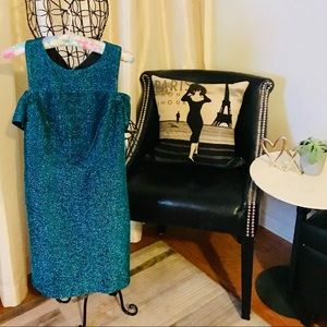 Top Shop off the Shoulder Blue Sparkle Dress